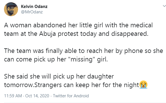 Woman  allegedly abandons her daughter at EndSARS protest venue