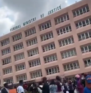 """""""Ministry of Injustice, Shame""""- #EndSARS protesters chant outside Ministry"""