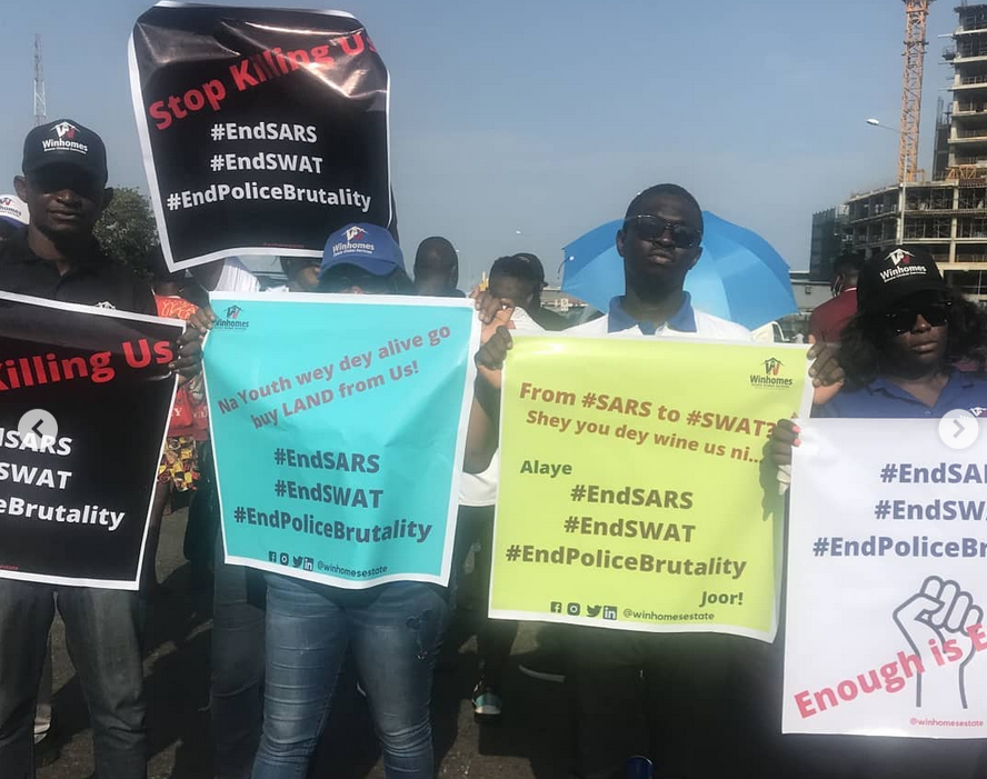 WinHome Estates share packs of Food, Drinks and Water to #ENDSARS protesters as a show of unwavering support  lindaikejisblog1