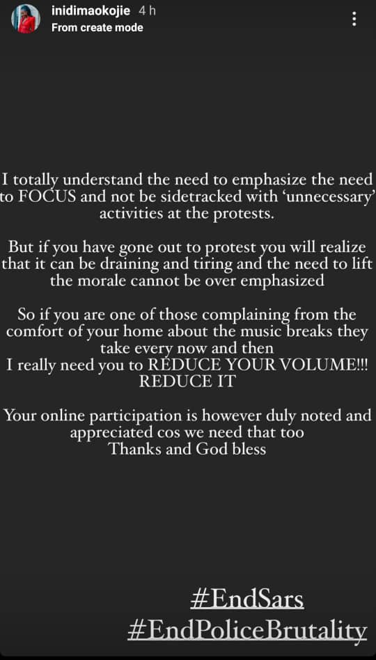 #EndSARS protests: We need the music breaks to lift our morale as the protests can be draining- Actress Inidima-Okojie