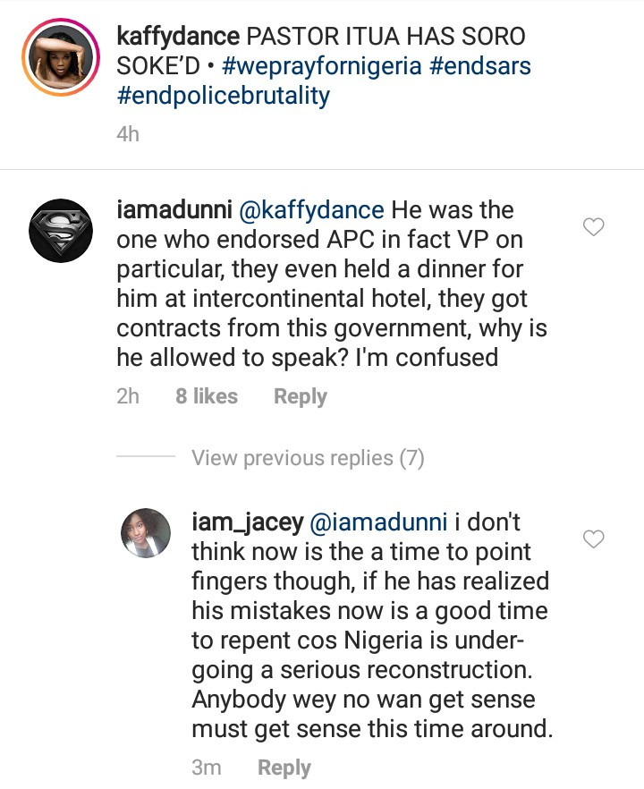"Adunni Ade asks why Pastor Ituah Ighodalo was allowed to speak at the #EndSARS candle light event after he ""endorsed"" APC"
