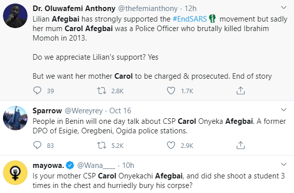 #EndSARS: She did not kill anybody- Actress Lilian Afegbai reacts to claims her retired police officer mum killed a UNIBEN student