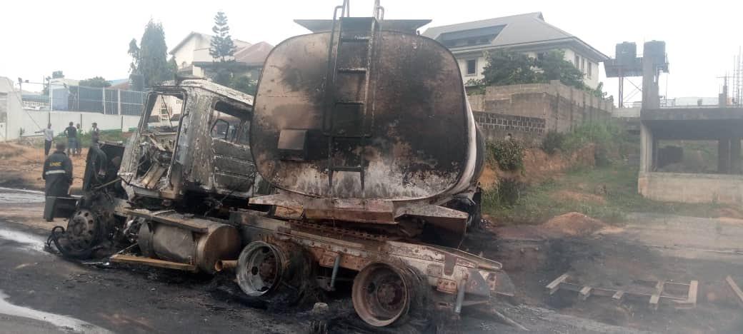 Photos as Petrol tanker explodes on Otedola bridge, Lagos State