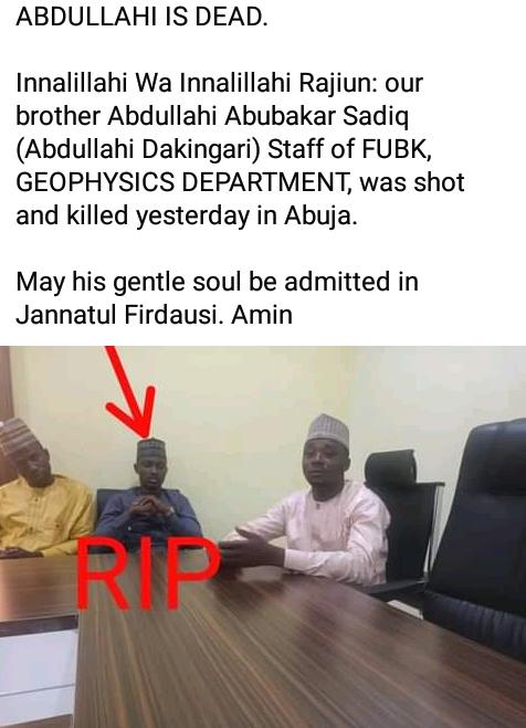 38-year-old university lecturer shot dead by unknown gunmen in Abuja