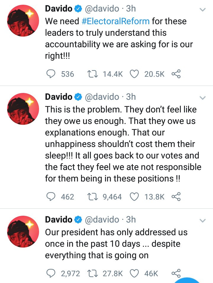 """Our president has only addressed us once in the past 10 days"" Davido tackles Buhari"