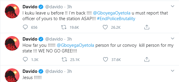 You have failed the people of Osun - Davido calls out Governor Oyetola over death of two #EndSARS protesters