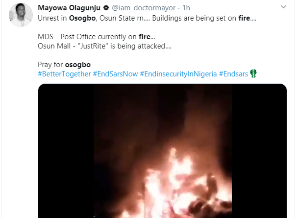 Post Office, Mall and local market allegedly burned down after thugs hijacked the #EndSARS protest after the killing of two protesters lindaikejisblog 2