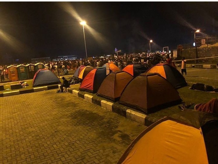 Camping tents set up for overnight #EndSARS protesters
