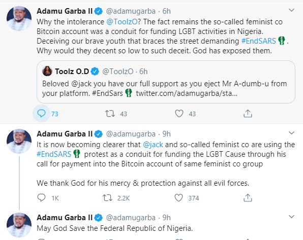 Former presidential aspirant, Adamu Garba accuses Twitter CEO Jack Dorsey and feminists of using the #EndSARS protest to fund the LGBT cause
