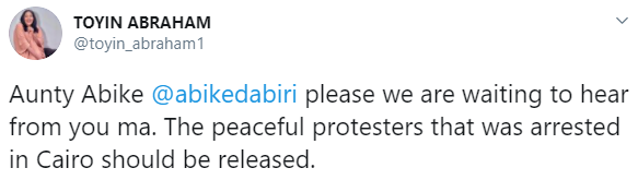 Abike Dabiri-Erewa reacts after Nigerian #EndSARS protesters were arrested in Egypt