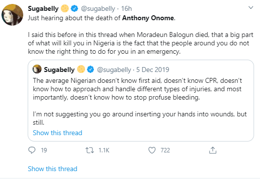 Sugabelly gives important first aid tips as she blames ignorance of protesters for Anthony Onome