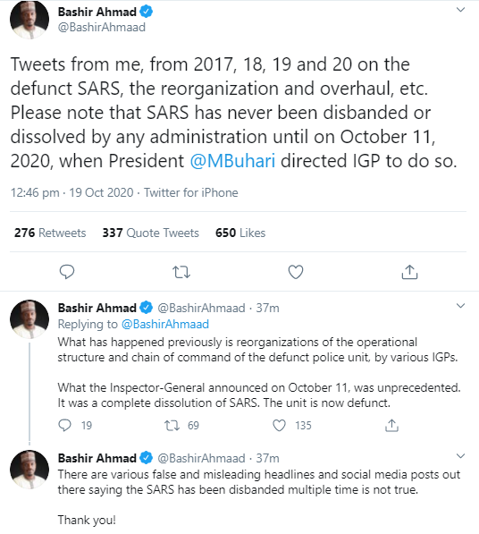 Bashir Ahmed denies ever tweeting in previous years that SARS has been disbanded; Nigerians react by digging out his old posts