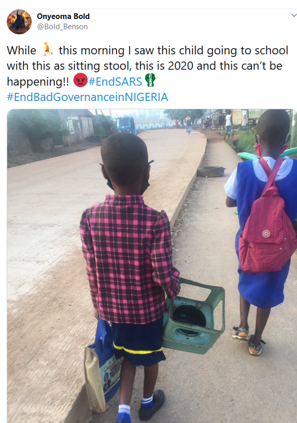 Student seen going to school with a stove to be used as a chair in class