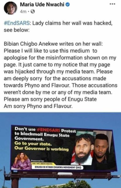Hon Mrs Bibian Anekwe reportedly apologizes for post accusing Phyno and Flavour of using End SARS protest to