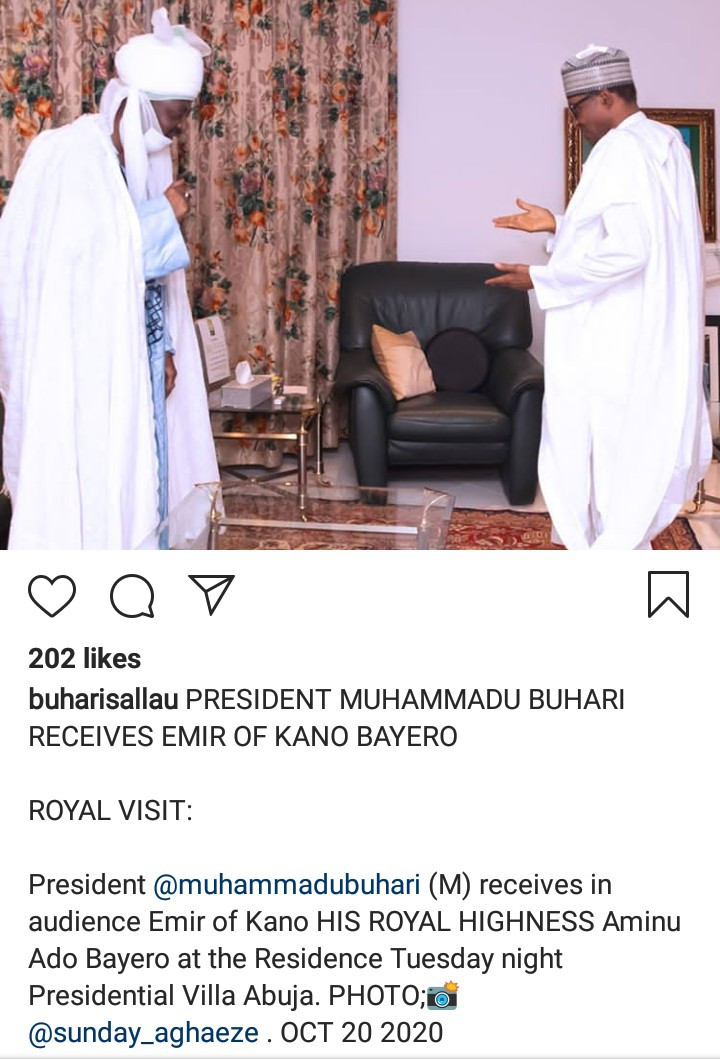 Outrage as aide shares photo of President Buhari receiving Emir of Kano while End SARS protesters are shot at in Lagos