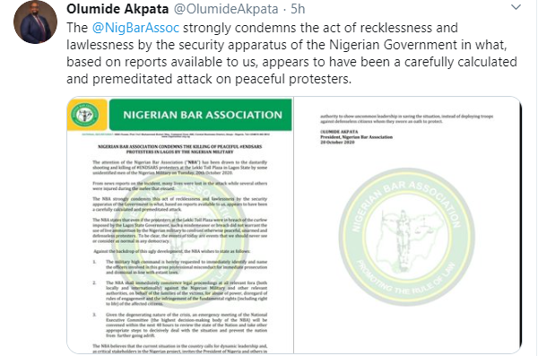 Nigerian Bar Association will commence legal proceedings locally and internationally against Nigerian military and other relevant authorities over Lekki shooting - Olumide Akpata