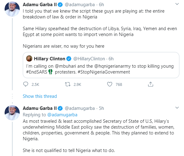 These guys are playing at the entire breakdown of law and order in Nigeria - Adamu Garba reacts to Hillary Clinton
