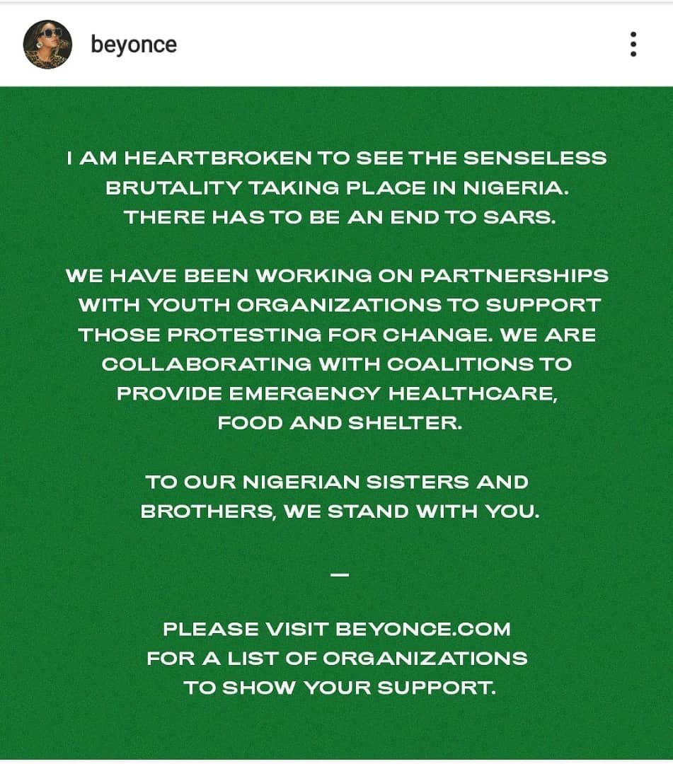 'I am heartbroken to see the senseless brutality taking place in Nigeria'- Beyonce lends her voice to #EndSARS campaign