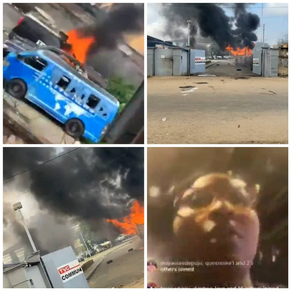 Mob invades TVC premises, set cars and other properties on fire (photos/video)
