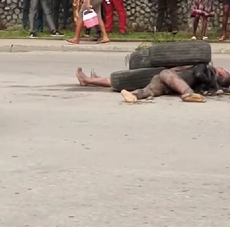 Two suspected robbers allegedly set ablaze by angry mob in Calabar