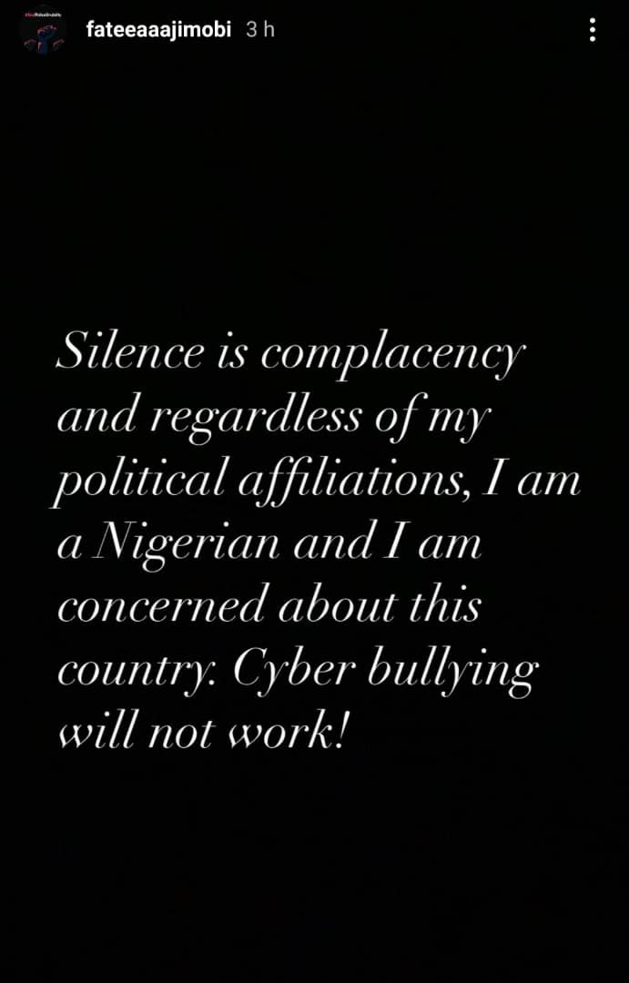 "Silence is complacency, cyber bullying will not work - Fatima Ganduje-Ajimobi writes hours after stating that she is embarrassed to have supported ""bunch of senseless and unpatriotic leaders"