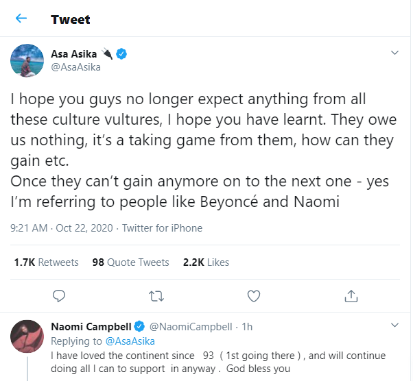 Suspermodel, Naomi Campbell reacts after being called a ?culture vulture? by Davido?s manager, Asa Asika