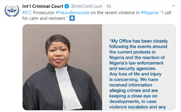 We have received information alleging crimes in Nigeria and are keeping a close eye - International Criminal Court (ICC) prosecutor speaks on #EndSARS crisis