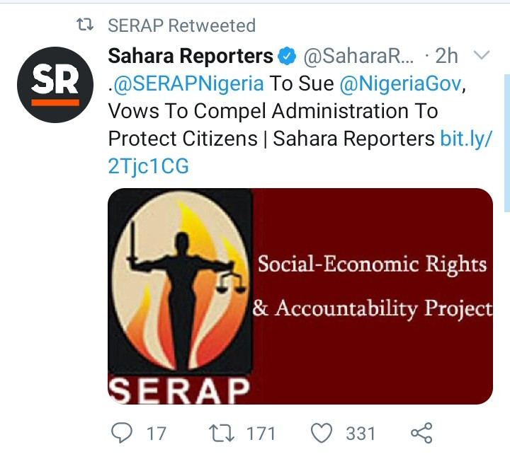 SERAP to sue Nigerian Government and