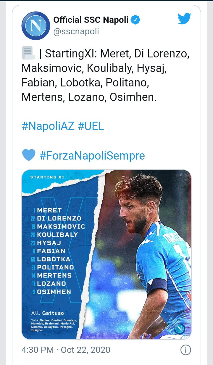 Victor Osimhen makes his European football debut for Napoli