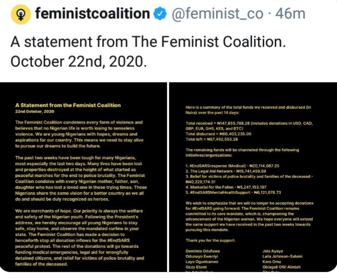 Feminist coalition releases statement to reveal the plan going forward after Buhari