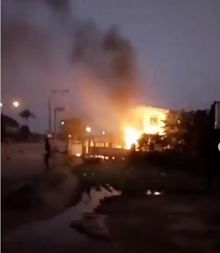 Akwa Ibom Broadcasting Corporation on fire (video)