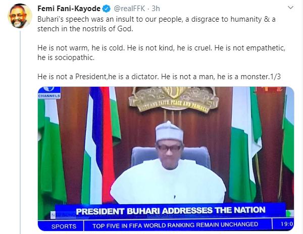 FFK slams President Buhari over speech on #EndSARS protest