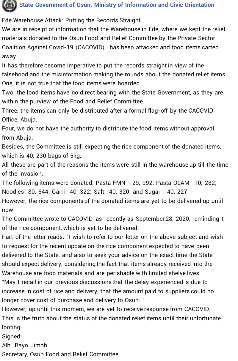 """""""The food items can only be distributed after formal flag-off by CACOVID Abuja"""" - Osun State Govt denies hoarding COVID-19 palliatives"""