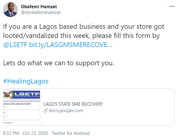 Lagos state government to support owners of businesses vandalized and looted by hoodlums - Deputy gov, Obafemi Hamzat says