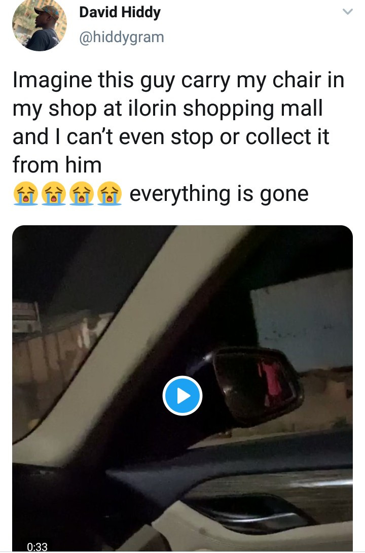 Business owner shocked by the response he got from a looter carting away his chair (video)
