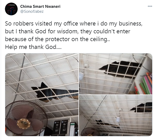 Nigerian man narrates how an iron protector stopped robbers from vandalizing his office