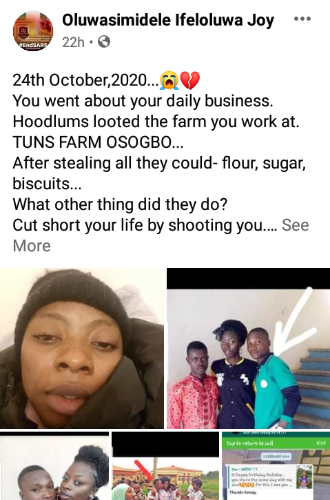 "Graduate shot dead by hoodlums who looted properties belonging to his boss in Osogbo because ""he could identify most of them"""