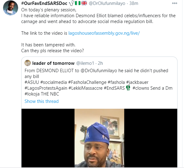 Can you let the whole world see the video of what you said about social media regulation - Popular social media commentator, Dr Olufunmilayo fires back at Desmond Elliot lindaikejisblog 1