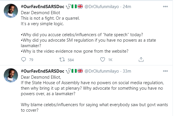 Can you let the whole world see the video of what you said about social media regulation - Popular social media commentator, Dr Olufunmilayo fires back at Desmond Elliot lindaikejisblog 2