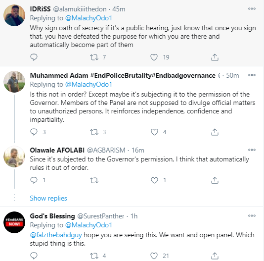 """""""We want an open panel"""" Nigerians say as youth representatives on the Lagos judicial panel of enquiry on police brutality are asked to sign oath of secrecy"""