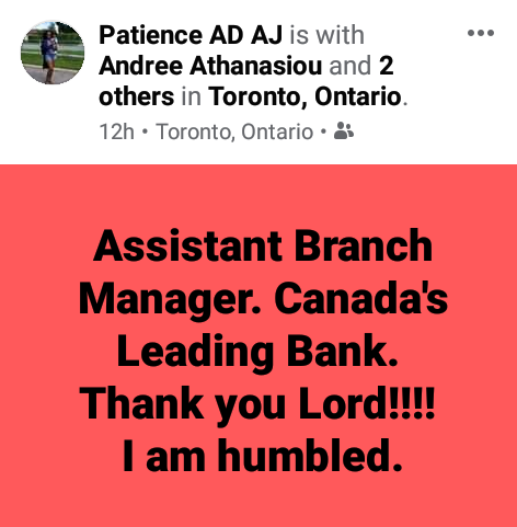 """""""I am humbled"""" - Nigerian lady celebrates as she becomes Assistant Branch Manager of Canada"""