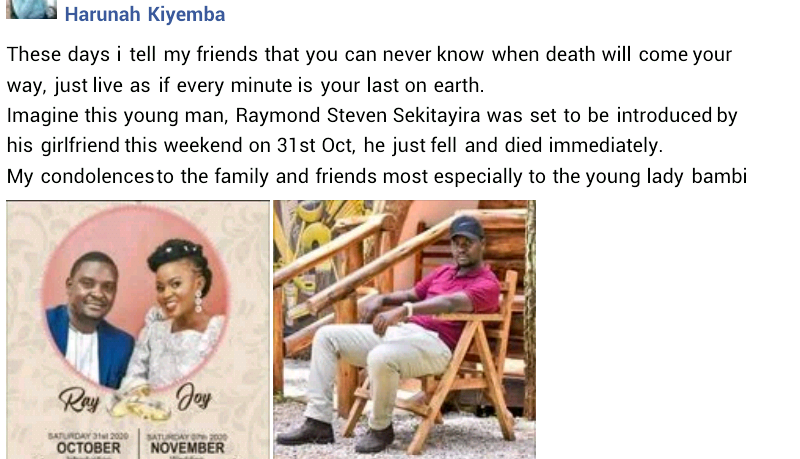 Man slumps and dies ten days to his wedding