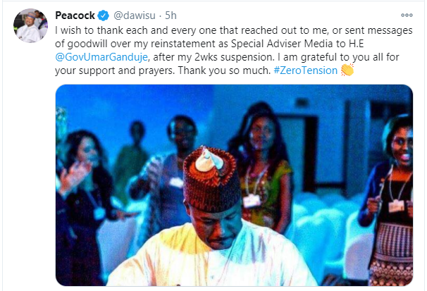 Ganduje reinstates suspended aide who called out President Buhari over #EndSARS protest