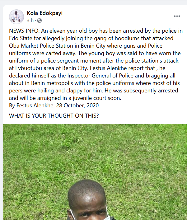 Police allegedly arrest 11-year-old boy who reportedly participated in attack on Edo police station and declared himself IGP