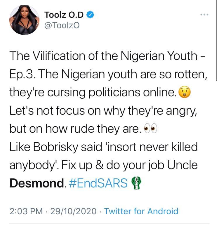 #EndSARS: Nigerian celebrities call out Desmond Elliot over his comment about celebrities and influencers