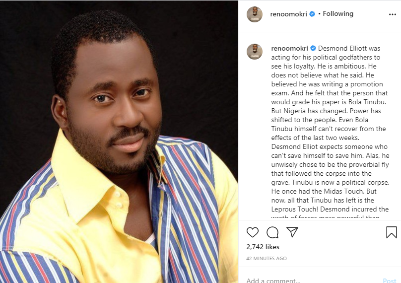 He was acting for his political godfathers to see his loyalty - Reno Omokri slams Desmond Elliot, tells his followers on IG to unfollow him