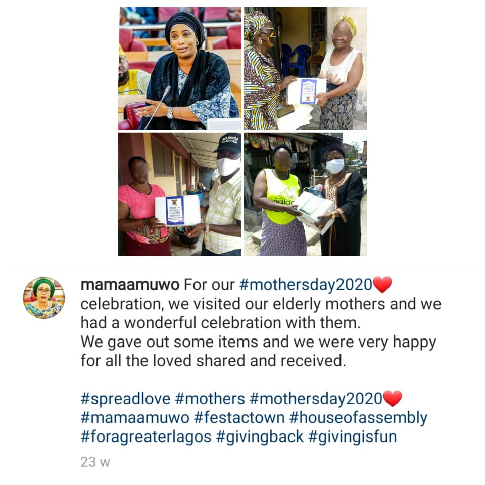 """Taking home billions and leaving crumbs for the masses"" - Nigerians call out lawmaker, Moji Alli-Macaulay. for giving out COVID-19 palliatives to her constituents on Mothers day (photos)"
