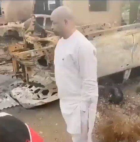 MC Oluomo inspects burnt police station in Oshodi (video)