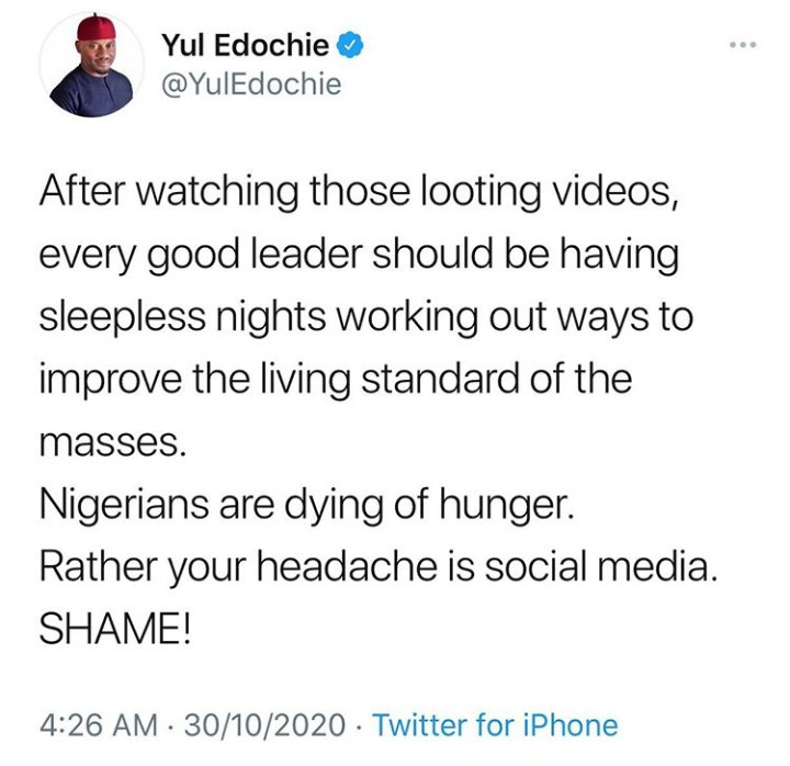 Every good leader should be having sleepless nights after watching those looting videos - Yul Edochie says