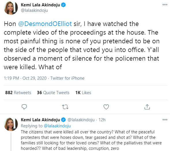 None of you pretended to be on the side of the people that voted you into office - Actress Kemi Lala Akindoju calls out Desmond Elliot and other Lagos lawmakers lindaikejisblog 1